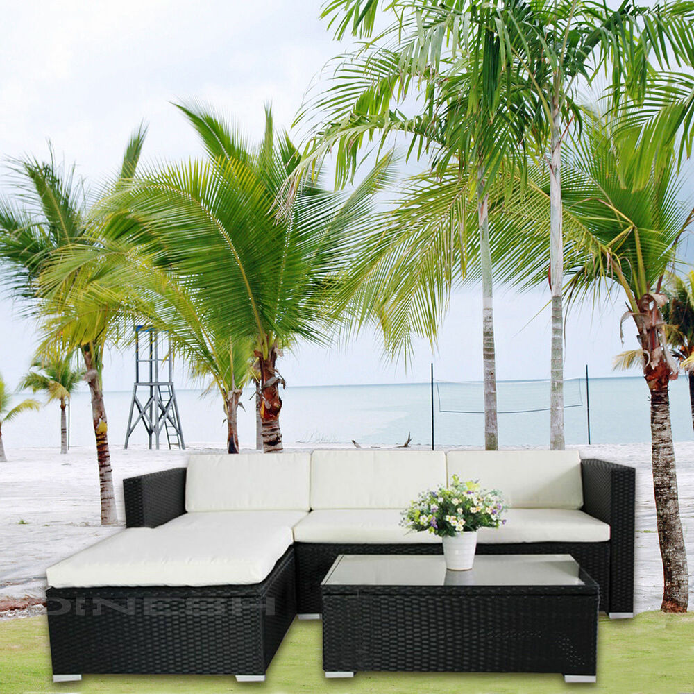 Hawaii poly rattan lounge schwarz gartenset sofa garnitur for Lounge gartenmobel rattan