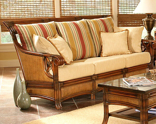 Pacifica natural rattan and wicker sofa model 4303 from for Antigua wicker chaise