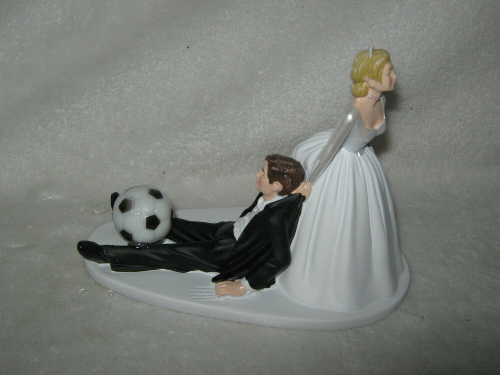 Wedding Party Reception Soccer Ball Cake Topper Sports Bride Dragging Groom