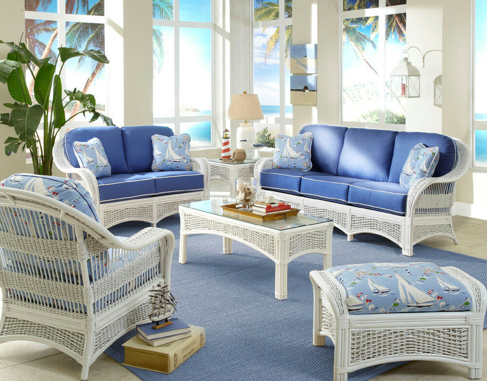 Regatta indoor white wicker and rattan 5 pc living room for Rattan living room furniture