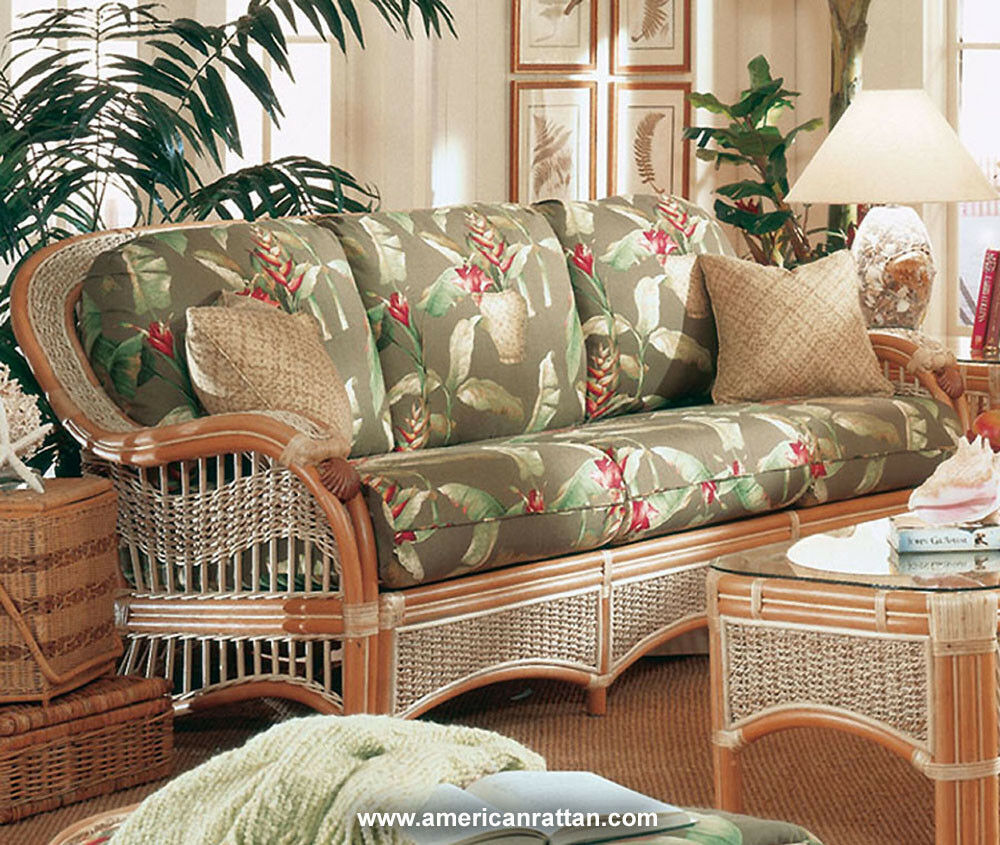 sea scape indoor wicker and rattan sofa from spice island