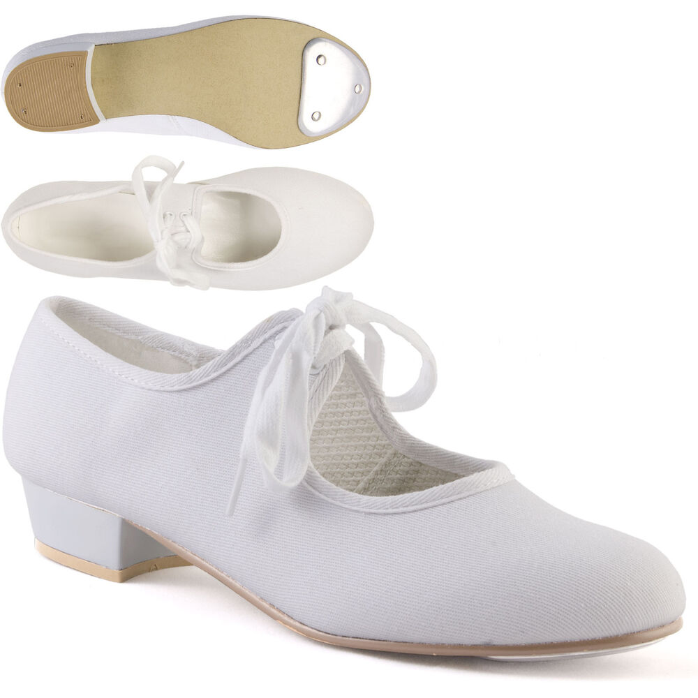 White Low Heel Canvas Tap Shoes with Toe Taps Girls Ladies ...