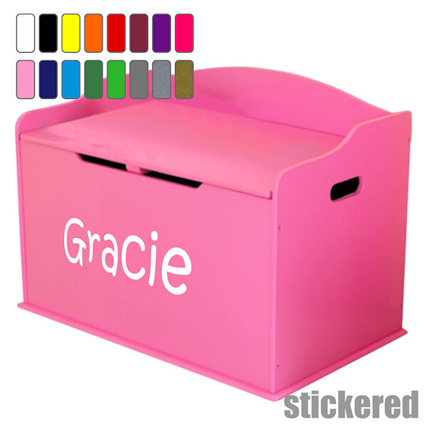 girls personalised name toy box vinyl sticker decal for childens furniture chest 714573463703 ebay. Black Bedroom Furniture Sets. Home Design Ideas