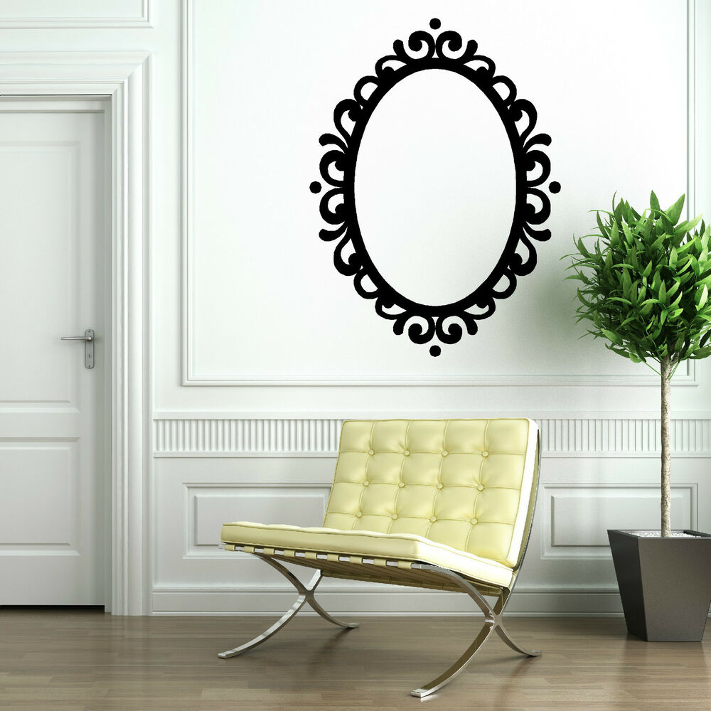 Wall Art With Mirror Frame : Picture frame oval mirror decorative contempory vintage