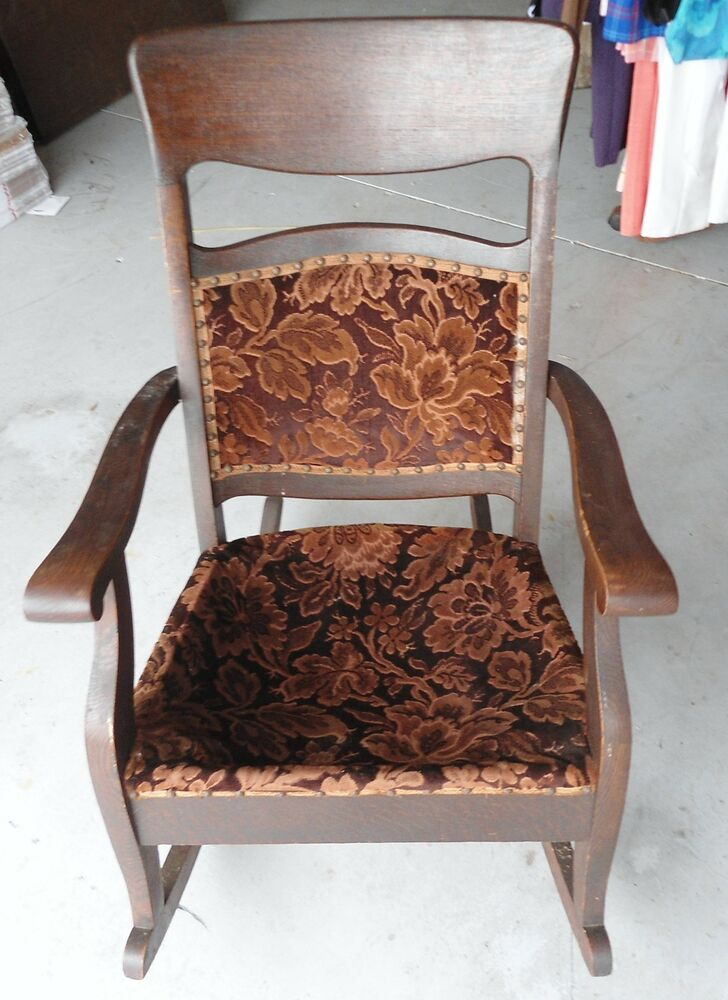 last days antique upholstered rocking chair circa early. Black Bedroom Furniture Sets. Home Design Ideas