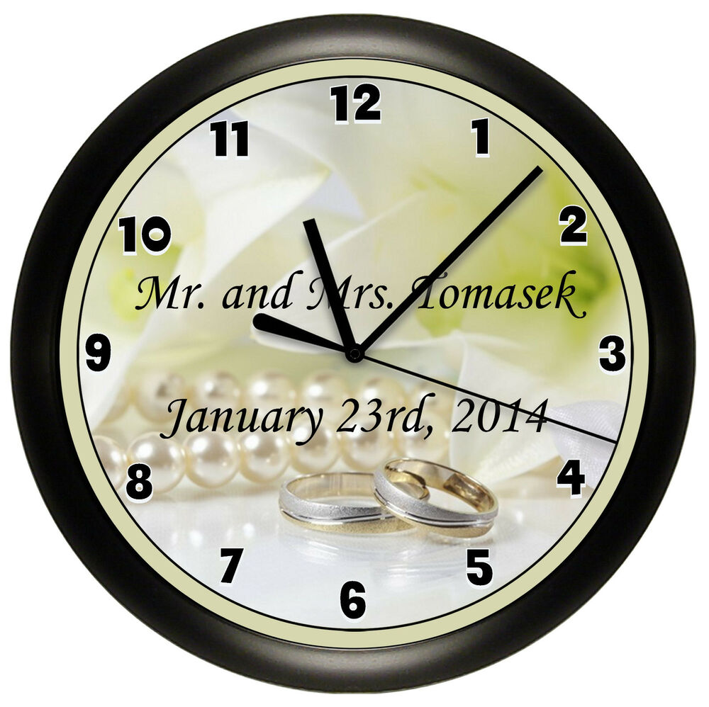 wedding wall clock personalized gift wall decor art bride. Black Bedroom Furniture Sets. Home Design Ideas
