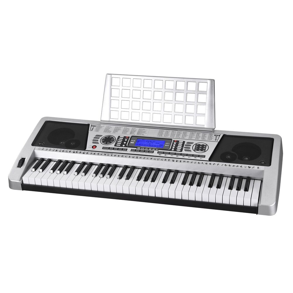 lcd 61 key midi silver electric keyboard music digital personal electronic piano ebay. Black Bedroom Furniture Sets. Home Design Ideas