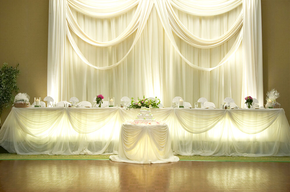 VOILE CHIFFON SHEER WEDDING CURTAIN 8ft DRAPE PANEL
