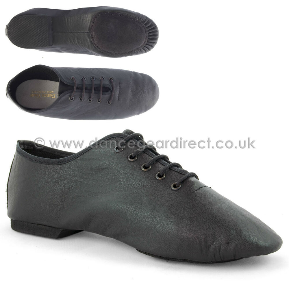 Black Leather Split Sole Jazz Shoes Girls Childs Ladies ...