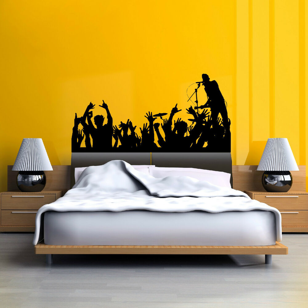 Concert crowd audience silhouette mural wall art sticker for Concert wall mural