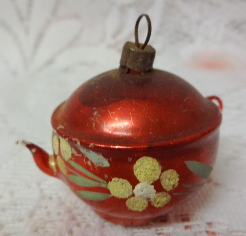 Christmas Tree Teapot: Vintage Old Germany Glass Christmas Tree Ornament Teapot