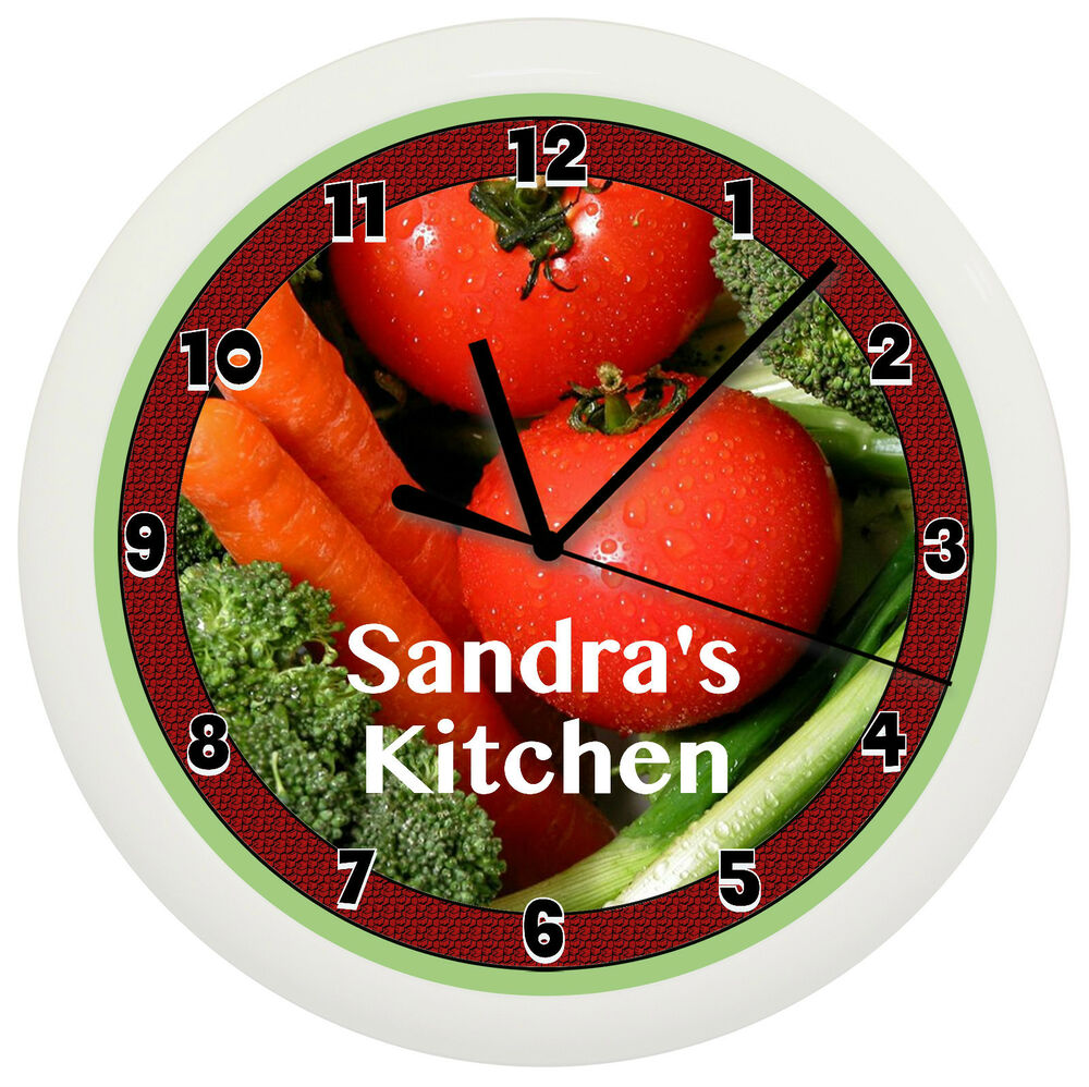 Kitchen Decor Vegetables: KITCHEN VEGETABLE WALL CLOCK PERSONALIZED GIFT WALL DECOR