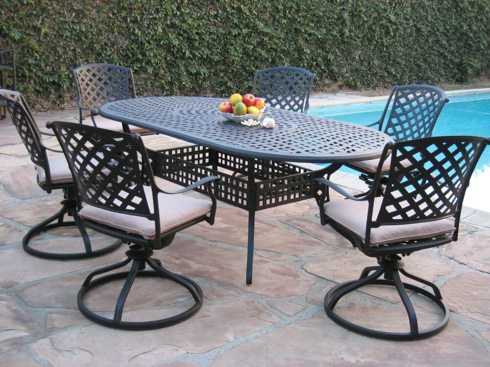 outdoor cast aluminum patio furniture 7 piece dining set with 6 swivel