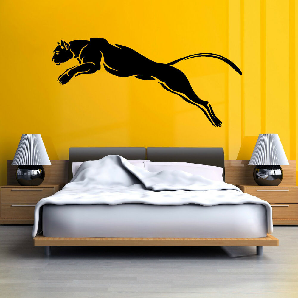 Black panther puma jaguar cat wild animal vinyl wall art for Black panther mural