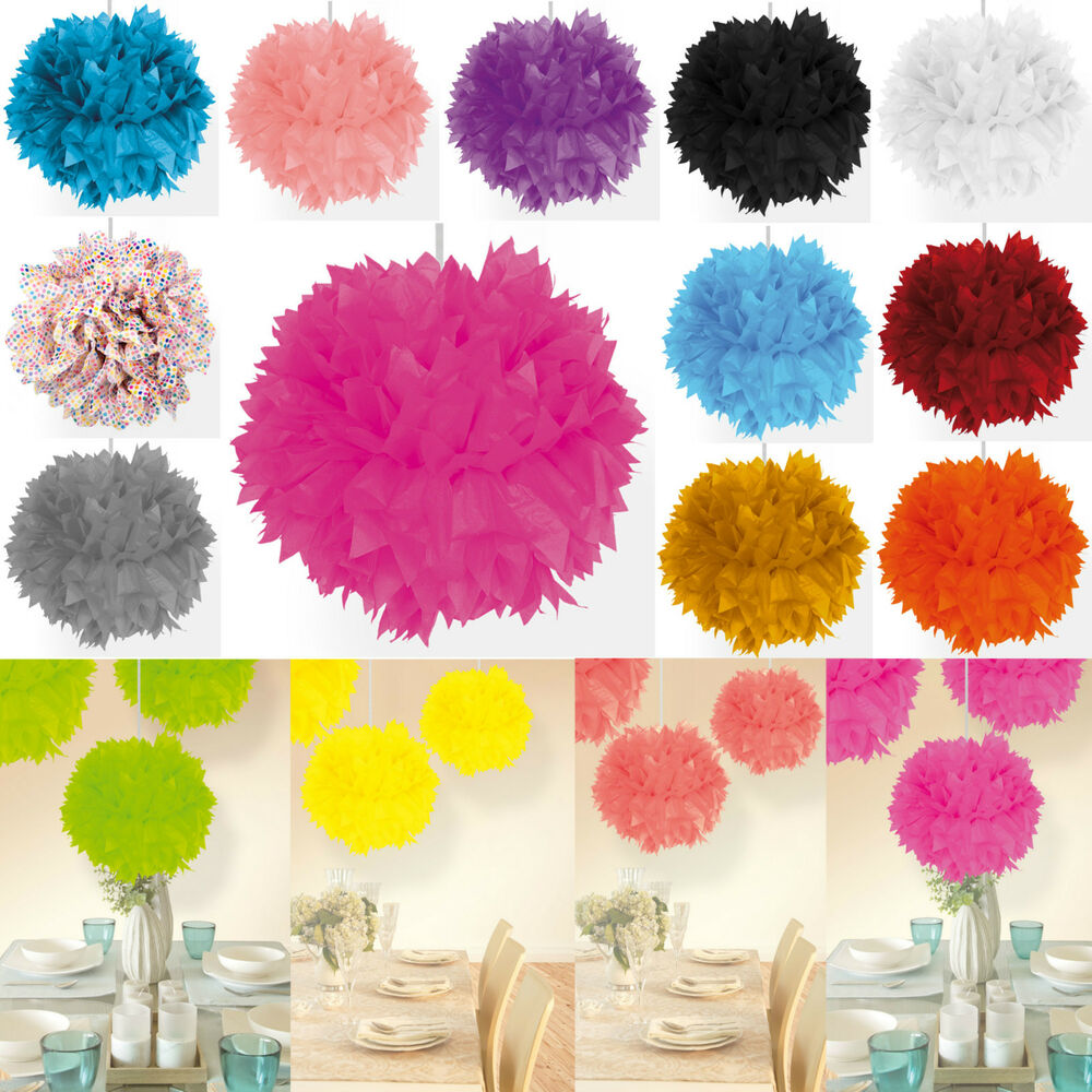 papier blume pompom d 30 cm party deko geburtstag hochzeit dekoration auswahl ebay. Black Bedroom Furniture Sets. Home Design Ideas
