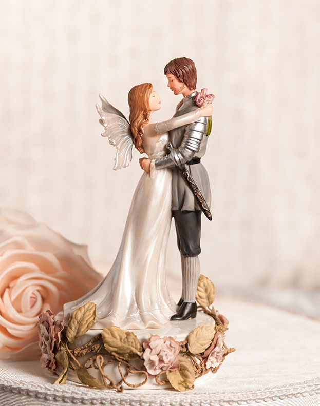 fantasy fairy wedding cake topper winged and valiant prince with roses 14197