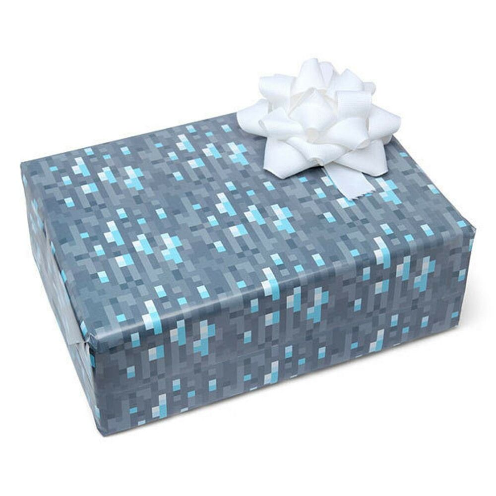 Diamond Ore Wrapping Paper Minecraft Pixels Gift Wrap ...