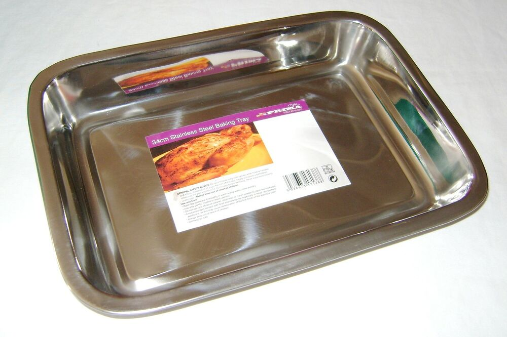 new stainless steel roasting baking tray oven tin 34cm. Black Bedroom Furniture Sets. Home Design Ideas