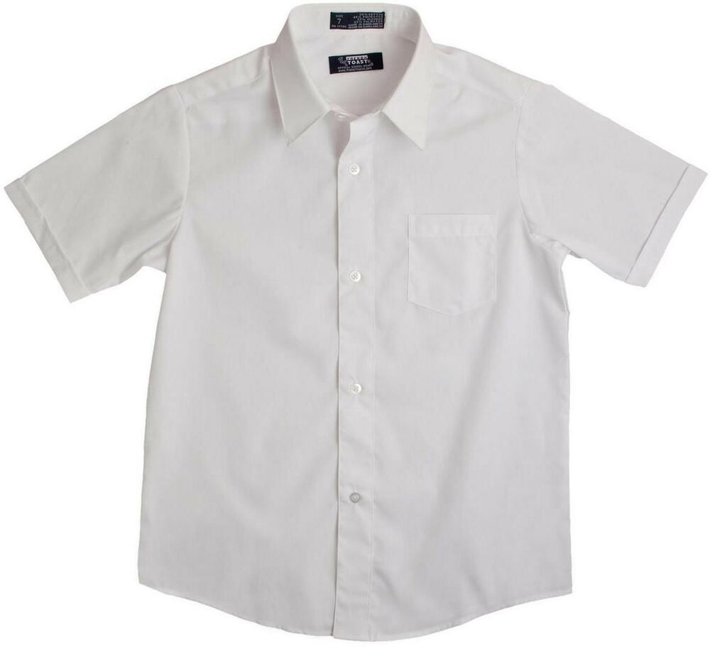 Boys New French Toast White Broadcloth Short Sleeve Dress