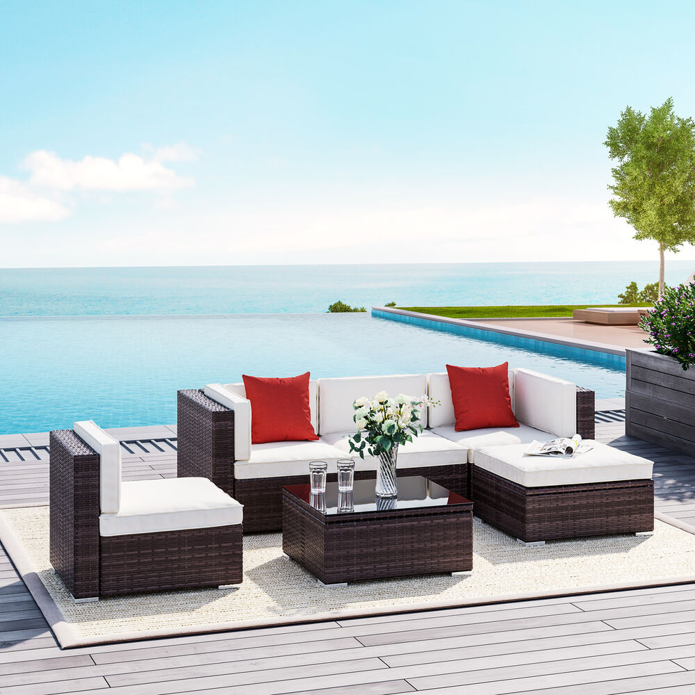 outsunny 6pc rattan wicker patio sofa set sectional garden yard couch furniture ebay. Black Bedroom Furniture Sets. Home Design Ideas