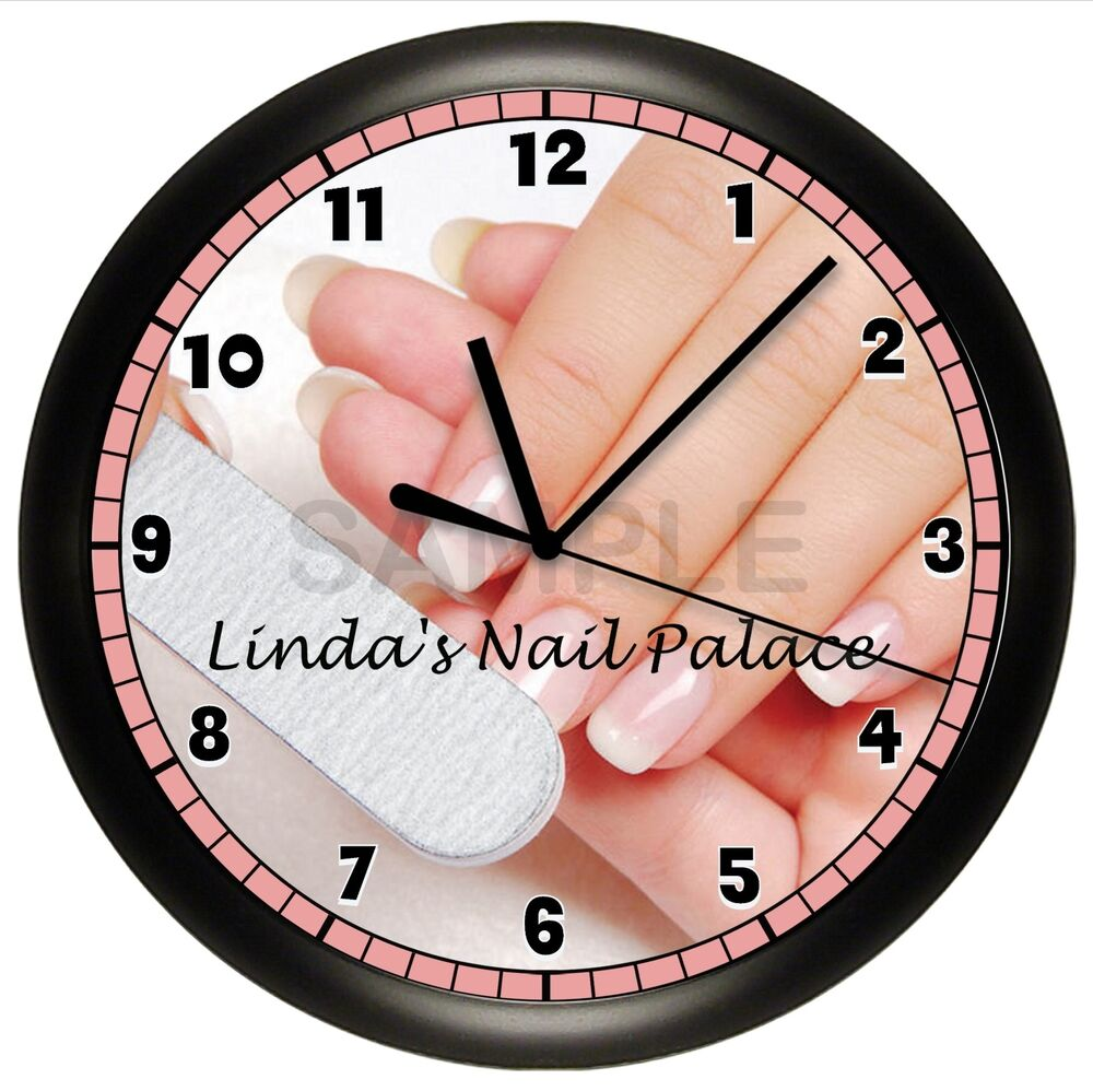 nail salon wall clock personalized gift finger polish. Black Bedroom Furniture Sets. Home Design Ideas