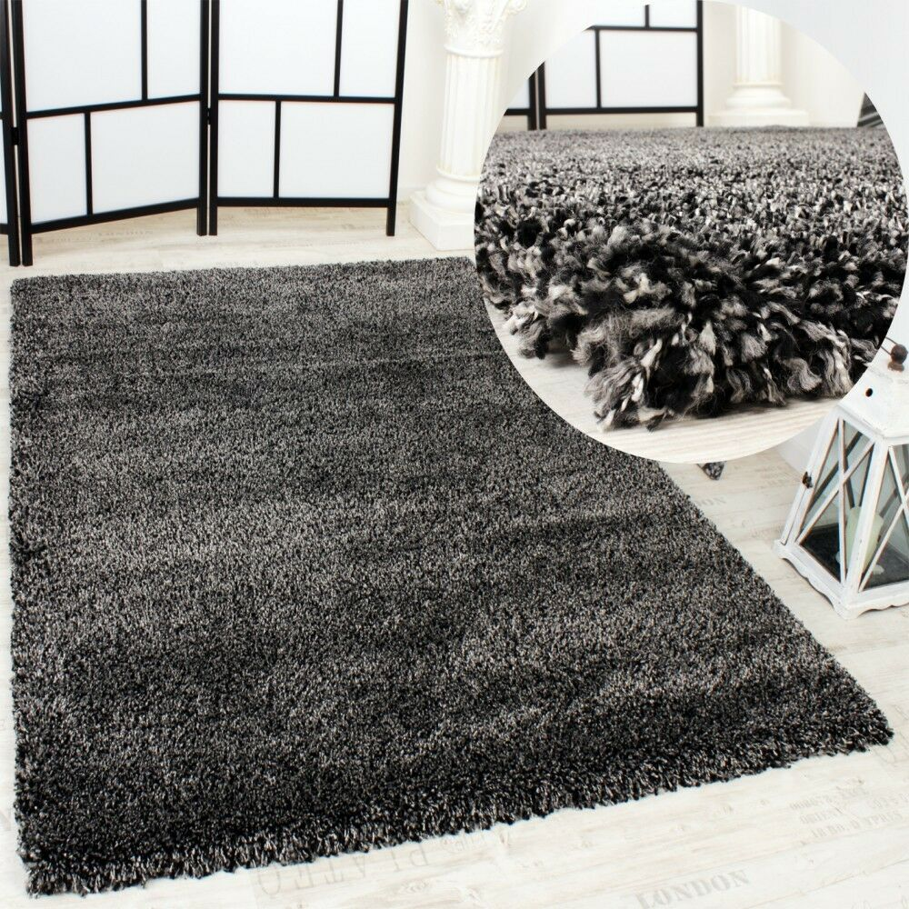 shaggy teppich rio xxl super shaggy hochflor langflor uni anthrazit ebay. Black Bedroom Furniture Sets. Home Design Ideas