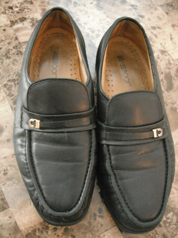 mens brass boot slip on dress shoes black leather loafers