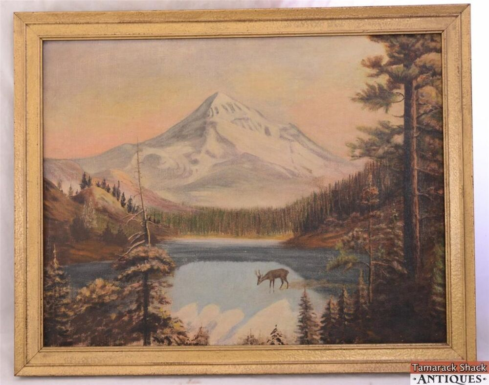 Mountains Woods Deer Stream Vtg Oil On Canvas Painting