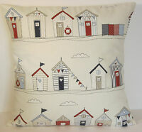 """Fryetts Beach Huts Red and Blue 16""""  Cushion Cover"""