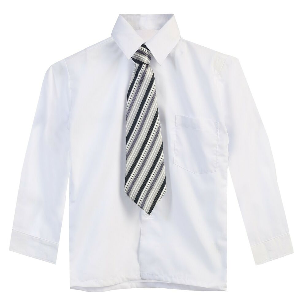 toddler boys white sleeve solid dress shirt and tie