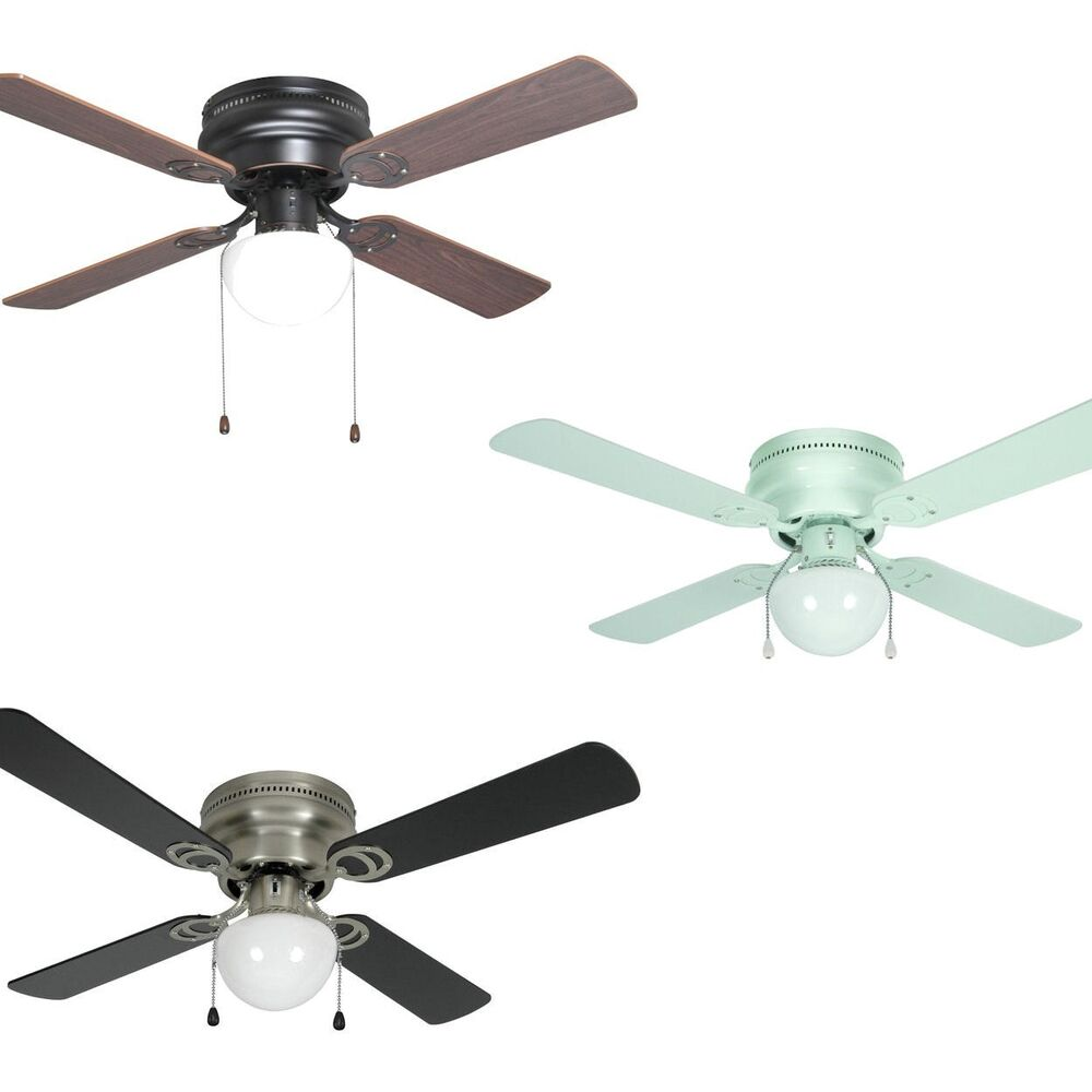 42 Inch Flush Mount Hugger Ceiling Fan W Light Kit Satin