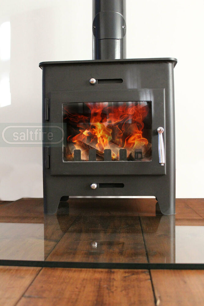 Saltfire st1 5kw defra approved wood burning stove clean for Small efficient wood stoves