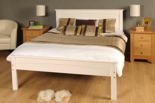 3ft single 4ft6 double 5ft king size caramel white wooden. Black Bedroom Furniture Sets. Home Design Ideas