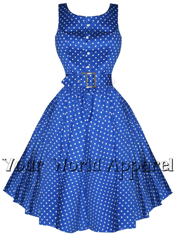 H Amp R Blue Polka Dot Pinup Swing 1950 S Housewife Dress