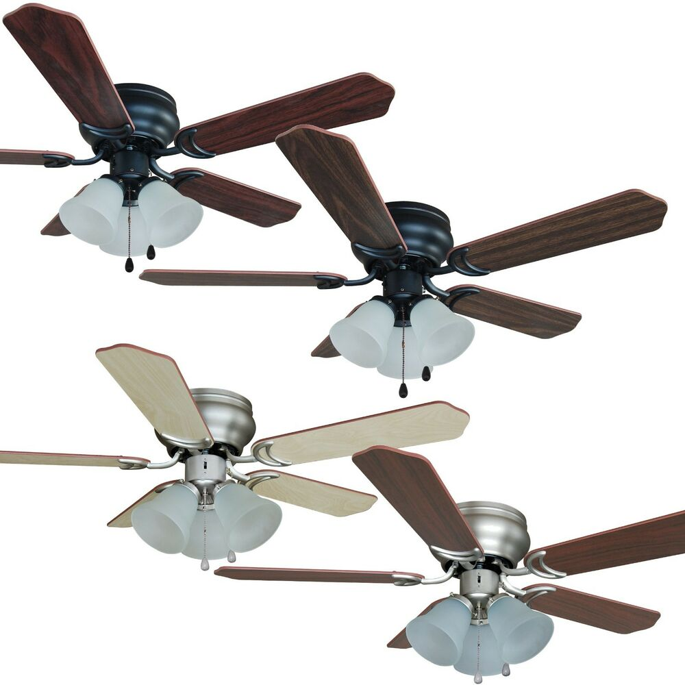 42 inch flush mount hugger ceiling fan w light kit oil. Black Bedroom Furniture Sets. Home Design Ideas