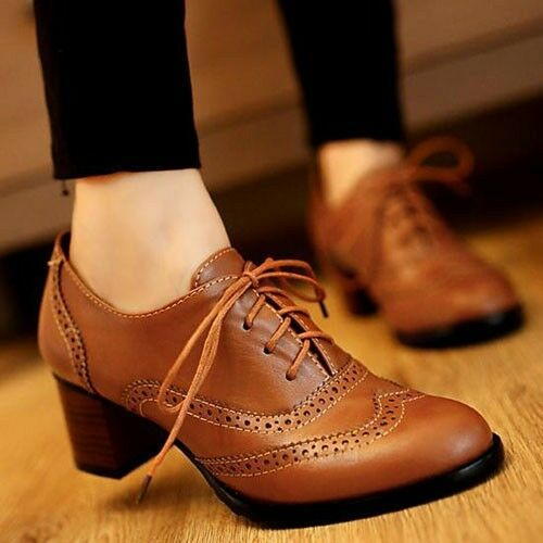new womens brogue lace up low thick heel oxfords retro