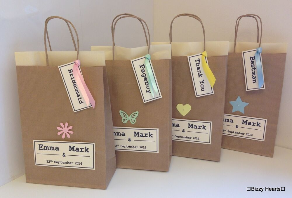 Personalised brown paper vintage style gift bag wedding for Brown paper craft bags