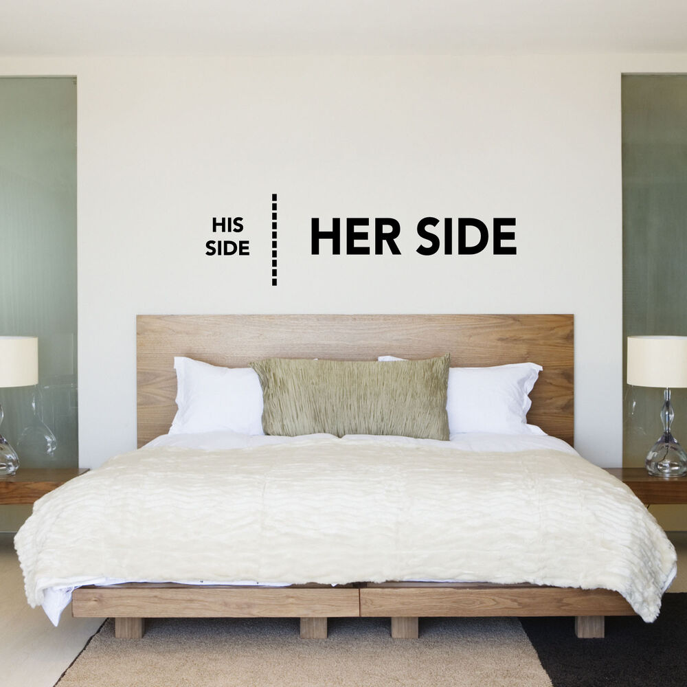 His Side Her Side. His & Hers Bedroom Wall Sticker / Decal ...