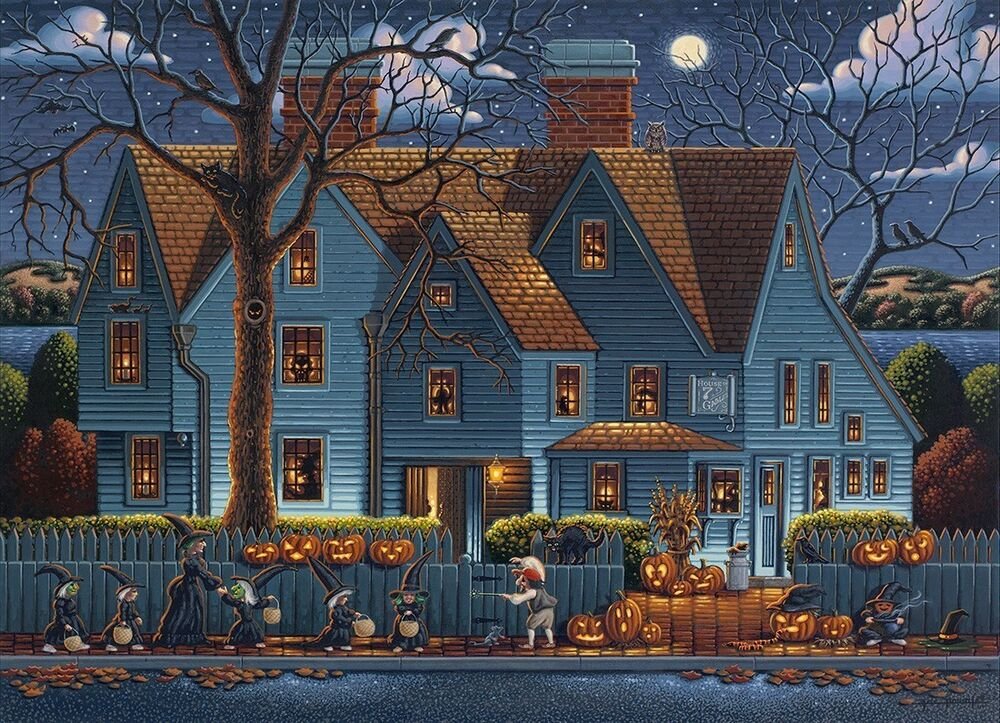Dowdle Folk Art Collectors Jigsaw Puzzle House Of Seven