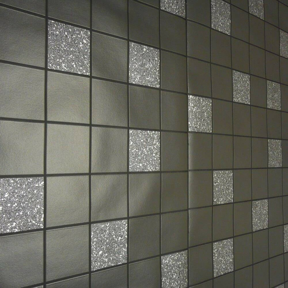 Black glitter kitchen bathroom granite wallpaper 89130 for Tile effect bathroom wallpaper