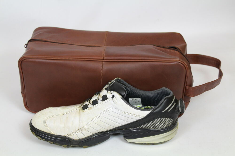 real leather brown golf shoe bag that can be