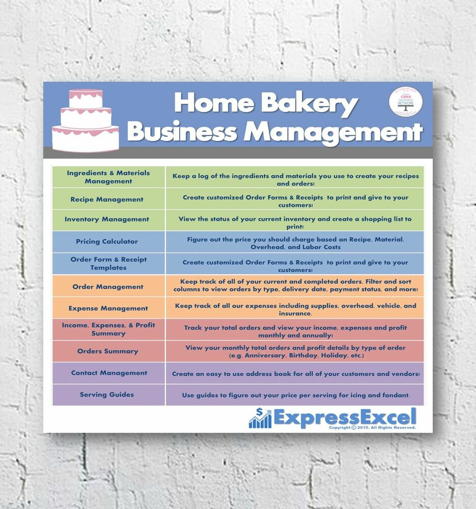 Home Bakery Business Management Excel Software Spreadsheet