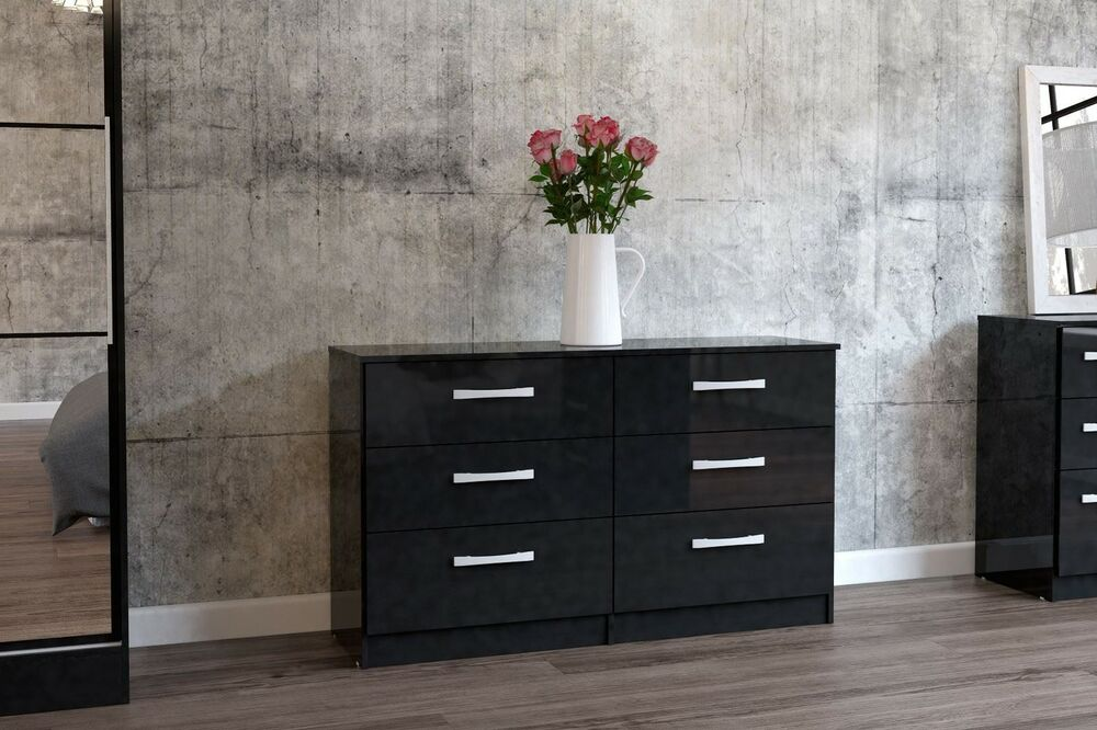 Birlea Lynx High Gloss All Black 6 Drawer Wide Chest Bedroom New EBay