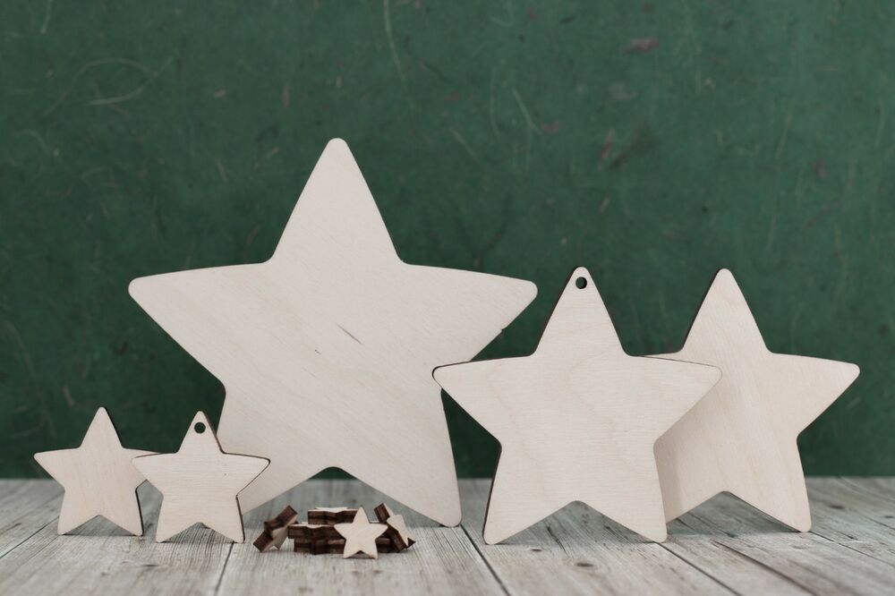 wooden star shapes craft blank cutouts plaque and card On wooden star craft shapes