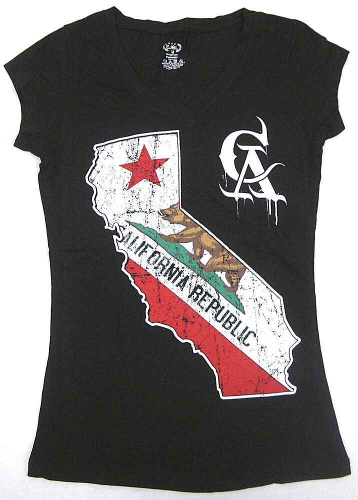 california republic v neck t shirt cali ca tee womens juniors s xl black new ebay. Black Bedroom Furniture Sets. Home Design Ideas
