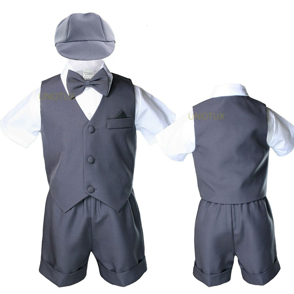 592746f13 Dark Gray Infant Boy Toddler Formal Bowtie Hat Vest shorts Outfit ...