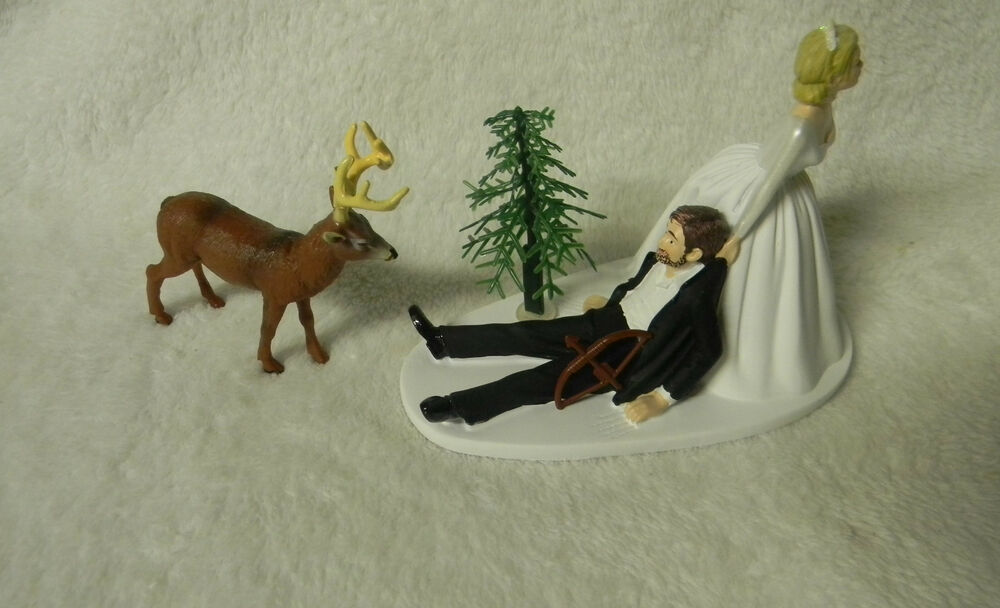Redneck Deer Fishing Hunting Wedding Cake Toppers