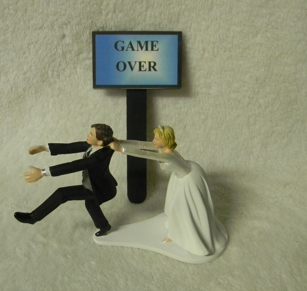 Wedding Reception Party Running Groom Game Over Sign Cake