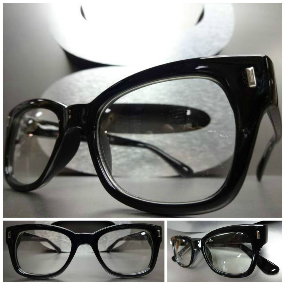 Vintage Black Frame Glasses : Mens Women VINTAGE RETRO Style Clear Lens EYE GLASSES ...