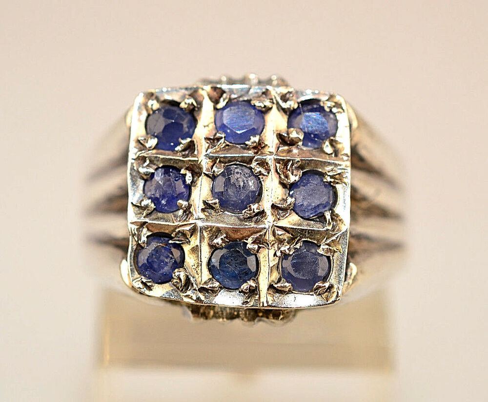 mens sterling silver sapphire ring with 9 stones in square setting size 8 75 ebay